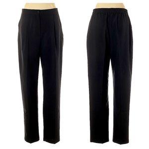 ASOS Black Pleated Work Pants Elastic Waist 10